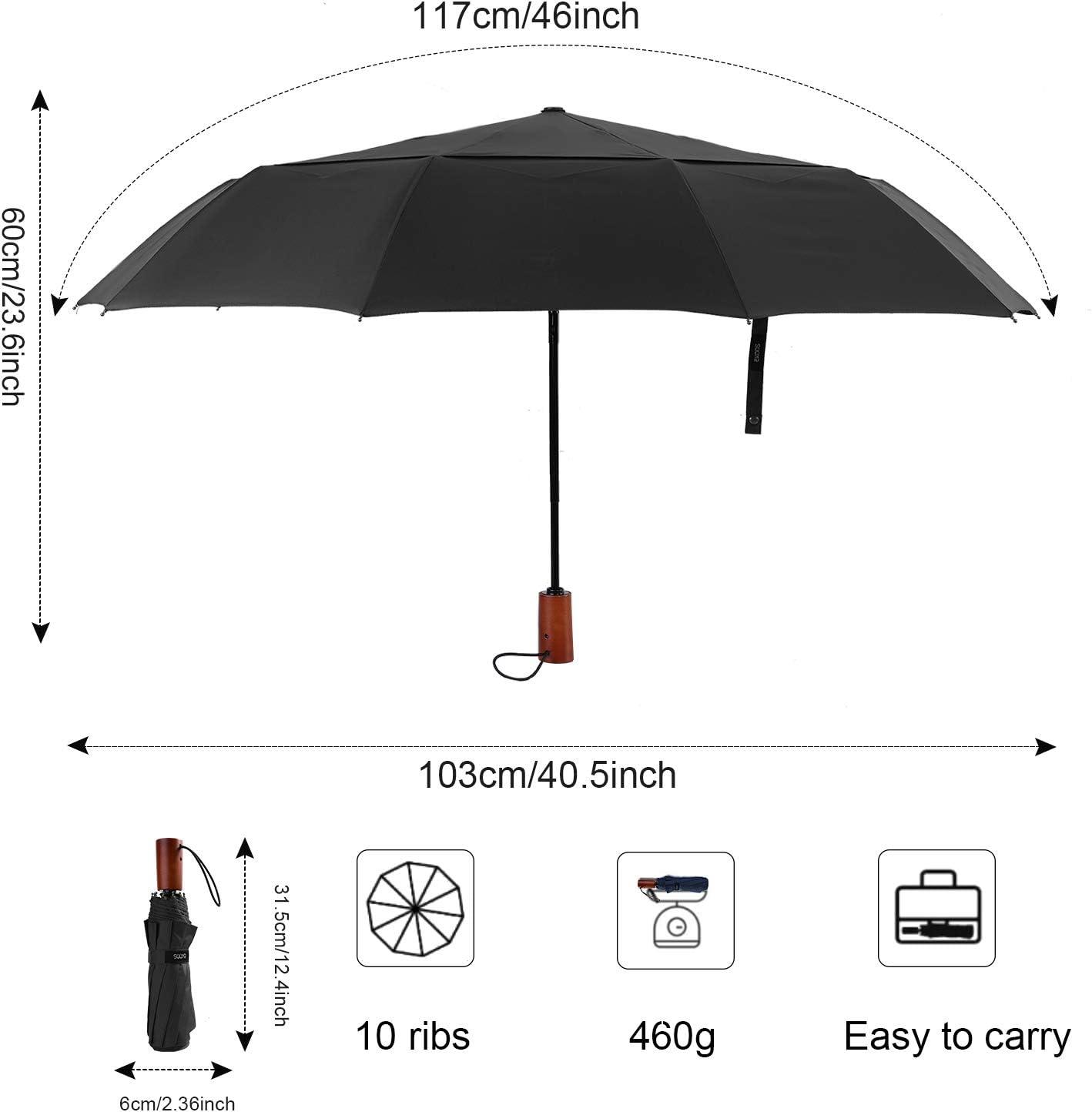 Auto Open//Close Button 10 Rib Wood Handle EKOOS Travel Umbrella Compact Folding Umbrella Large with 40.55 inch Windproof Teflon Coating Double Canopy Construction