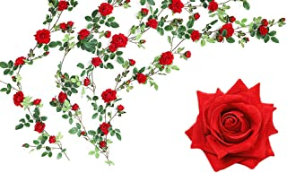 Luyue Artificial Rose Vine Silk Flowers Garland Wedding Flowers Vines Silk Roses Garland for Wedding Decorations (Red)