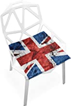 TSWEETHOME Comfort Memory Foam Square Chair Cushion Seat Cushion with UK Flag Chair Pads for Floors Dining Office Chairs