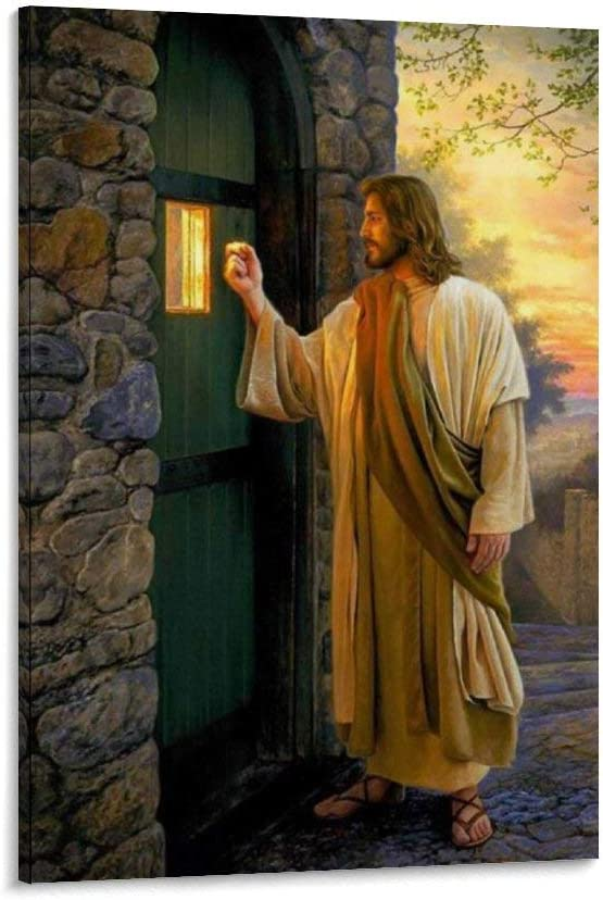 Boston Mall xiaoyanyan Jesus Knocking on Max 54% OFF Your Door Decorative Poster Paintin