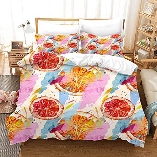 CNBISHENG nordicas para Cama Color Fruta Naranja Doble: 200 cm x 200 cm Juego de Funda nórdica3 Piezas de Microfibra Suave 1 Funda nórdica y 1 Fundas de Almohada