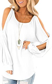 Jescakoo Women's Long Sleeve Cut Out Cold Shoulder Tops Deep V Neck T Shirts