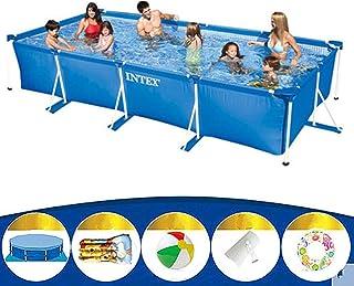 Phil Beauty Infantil Deluxe Splash Frame Pool Piscina Desmontable Tubular 3834L Buena Tenacidad Protector Solar Y A Prueba De Fugas para Patio Jardín Playa Azul,300x200x75cm