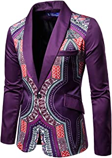 AOWOFS Men's Print One Button Suit Dress Ethnic Style Party Fashion Slim Blazer Suit