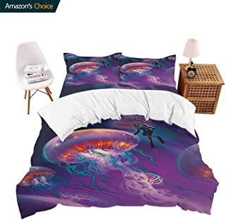 PRUNUSHOME Deluxe Polyester Bed Sheet Set House Diver with Giant Jellyfish Magical Underwater World Artisan Image Purple Blue Bedding Elegant - Full