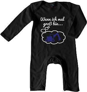 Mikalino Baby Schlafanzug Wenn ich mal groß bin. Bagger weiss-blau print