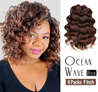 Ocean Wave Crochet Hair Pre-Looped 9 Inch 8packs Ombre Brown Ocean Wave Crochet Braids Synthetic Hair Extensions Toyo Tress