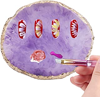 Kalolary Resin Stone Nail Art Palette, Nail Art Cosmetic Mixing Palette Color Mixing Pigment Plate Polish Holder Drawing Color Palette Nail Art Painting Gel Palette Manicure Tool (Purple)