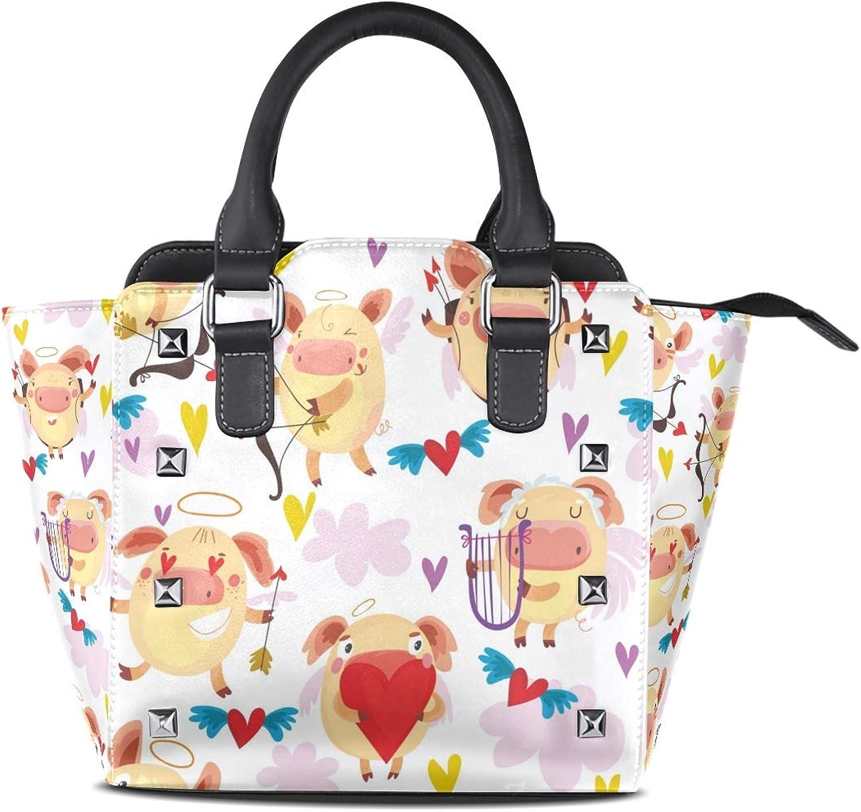 My Little Nest Women's Top Handle Satchel Handbag Cute Hearts Pig Ladies PU Leather Shoulder Bag Crossbody Bag