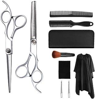 YK SCISSORS Salón Profesional Barber Cutting Tijeras Tijeras, Borde de Afeitar para el Peinado,Plata,6.0 Inch Set