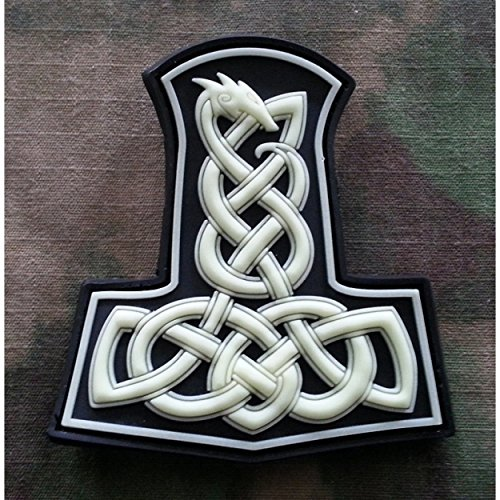 Jackets To Go JTG Dragon Thors Hammer Patch, GID (Glow in The Dark) 3D PVC Viking Valhalla