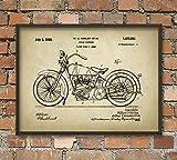 Rac76yd - Impresión de patente para motocicleta, diseño americano, decoración para el hogar, para motociclista, regalo para motociclistas, mecánicos de garaje