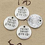 LLBBSS 10 Piezas De Placas De Encantos Nunca Nunca Te Rindas 20X20 Mm Colgante Antiguo En Forma De Bronce Vintage DIY para Collar De Pulsera