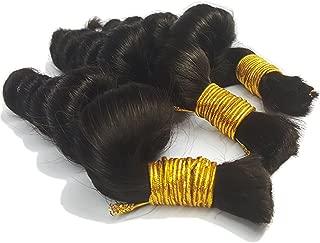 Hot Sale Hannah product Loose Wave Bulk Human Hair For Braiding Hair No Weft Micro mini Braiding Bulk Hair 3 Bundles 150g Brazilian (18 20 22 Natural Black #1B)
