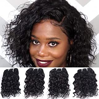 Brazilian Wet And Wavy Human Hair Weave 4 Bundles Natural Wave Unprocessed Virgin Cheap Human Hair Bundles 8A Grade Real Remy Hair Extensions 8 8 8 8 Inch Natural Black Color 50g/pc