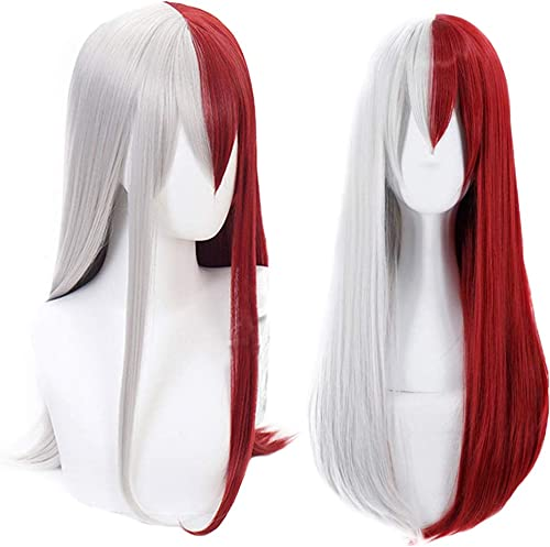 Anogol Hair Cap+Synthetic Wigs Red Half Silver Cosplay Wig With Bangs Long Wavy Hair for Anime Costume
