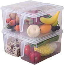 PENGKE Plastic Food Storage Container,with Lid and Handle,Food Storage Organizer Box Fresh Box for Kitchen Refridgerator F...