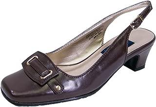 Annabelle Women Wide Width Buckle Design Squared Toe Cap Slingback Shoe