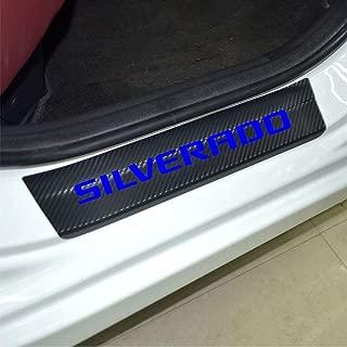 Car Entry Guard Sticker for Chevrolet Silverado Decoration Scuff Plate Carbon Fibre Vinyl Sticker Car Styling Accessories (blue)
