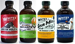 White's Elixirs Classic Cocktail Mix Pack: Old Fashioned, Moscow Mule, Sour, Spicy Margarita