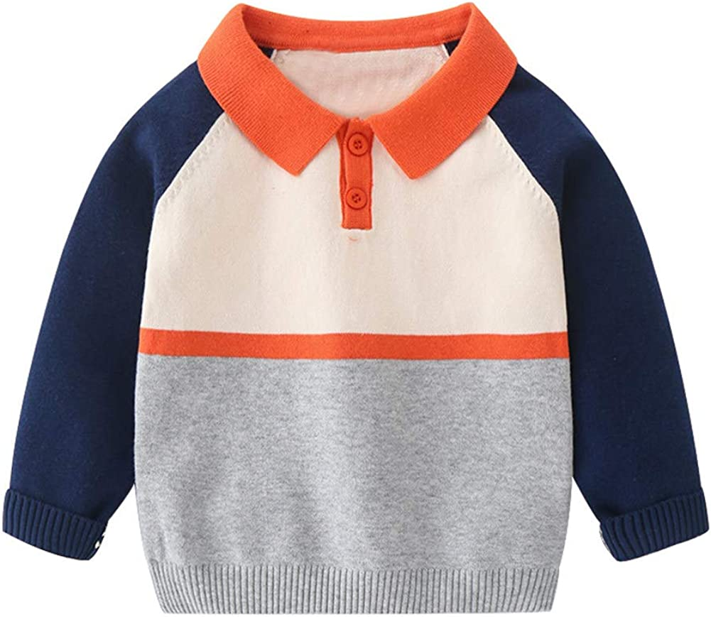 LittleSpring Boys Girls Collared Sweater Cute Colorblock Long Sleeve Casual