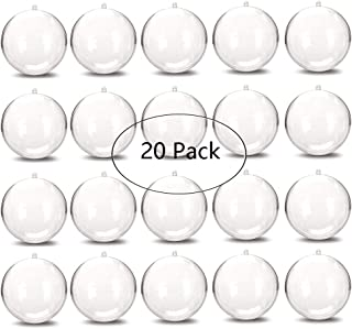 OJYUDD 20 Pack 80mm Round Clear Plastic Ball Ornaments,Great for Wedding Birthday Christmas Halloween Crafting DIY Ornaments and Many Occasions