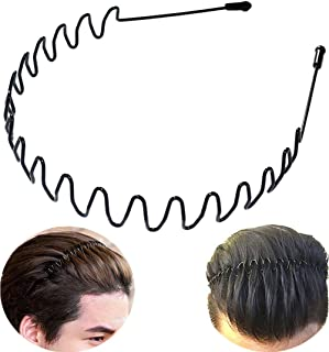 XINGZHE Metal Headbands for Men Women Hair Bands - Black Fashion Hairband for Mens Sports Headband for Women's Hair Care Beauty Unisex Non Slip Elastic Wavy Wide Hair Hoop Clips Accessories Outdoors