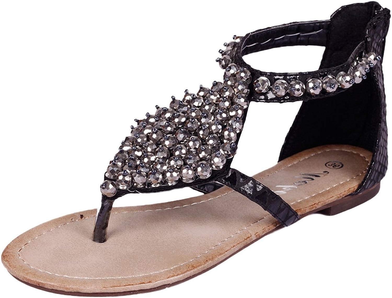 SK Studio Womens's Summer Rhinestone Sandals Bohemian Flip Flops