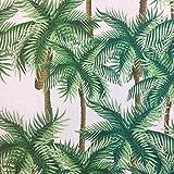 Tela de loneta estampada digital - Half Panamá 100% algodón - Retal de 100 cm largo x 140 cm ancho | Palmeras - Blanco, verde