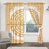 Sophia-Art Juego de 2 cortinas de mandala con diseño de elefante indio urbano, bohemio, mandala para ventana, 2 unidades