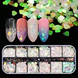 12 Shaped Holographic Nail Sequins Iridescent Mermaid Flakes Colorful Glitter Sticker Mani...