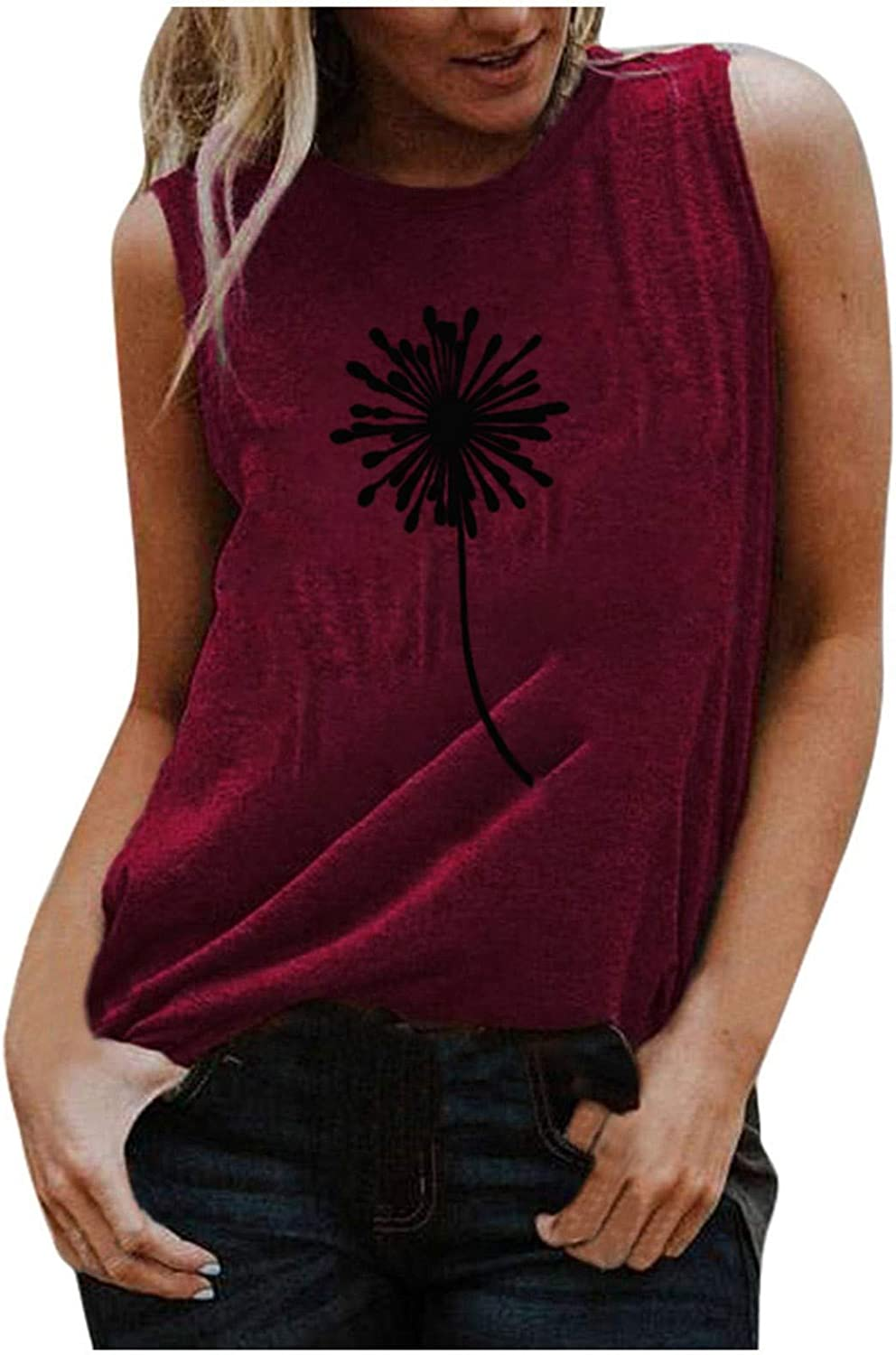 AODONG Tank Tops for Women, Womens Fashion Casual Summer Printed Loose Sleeveless Tunic Tee Blouse Tops Vest Tshirt