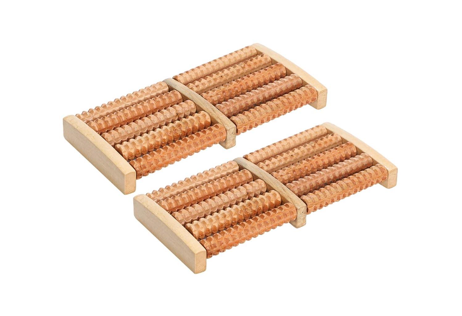 不条理応じるアロングほうねん堂 足つぼ ローラー 木製 足裏 マッサージ ツボ押し 健康器具 2個 セット