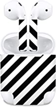 Premium Vinyl Skin Sticker Compatible with Apple Airpods (Black/White Stripe)