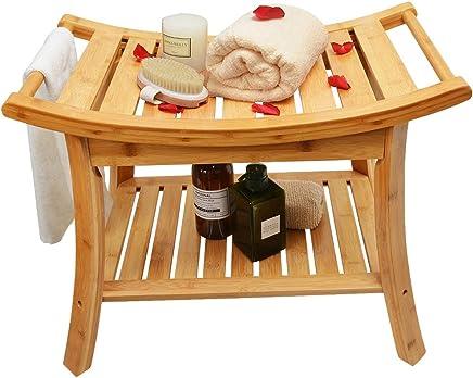 Zhuoyue Bamboo Spa Bath Shower Stool & Bench with Storage Shelf, Waterproof Shower Bath Seats