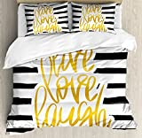 Ambesonne Live Laugh Love Duvet Cover Set, Romantic Design with Hand Drawn Stripes and Calligraphic Text, Decorative 3 Piece Bedding Set with 2 Pillow Shams, Queen Size, White Yellow