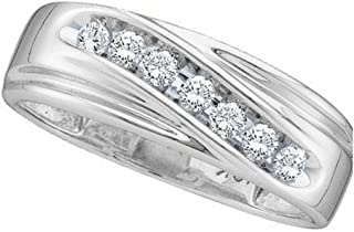 Jewels By Lux 10kt White Gold Mens Round Channel-set Diamond Single Row Wedding Band Ring 1/4 Cttw In Channel Setting (I2-I3 clarity; I-J color)