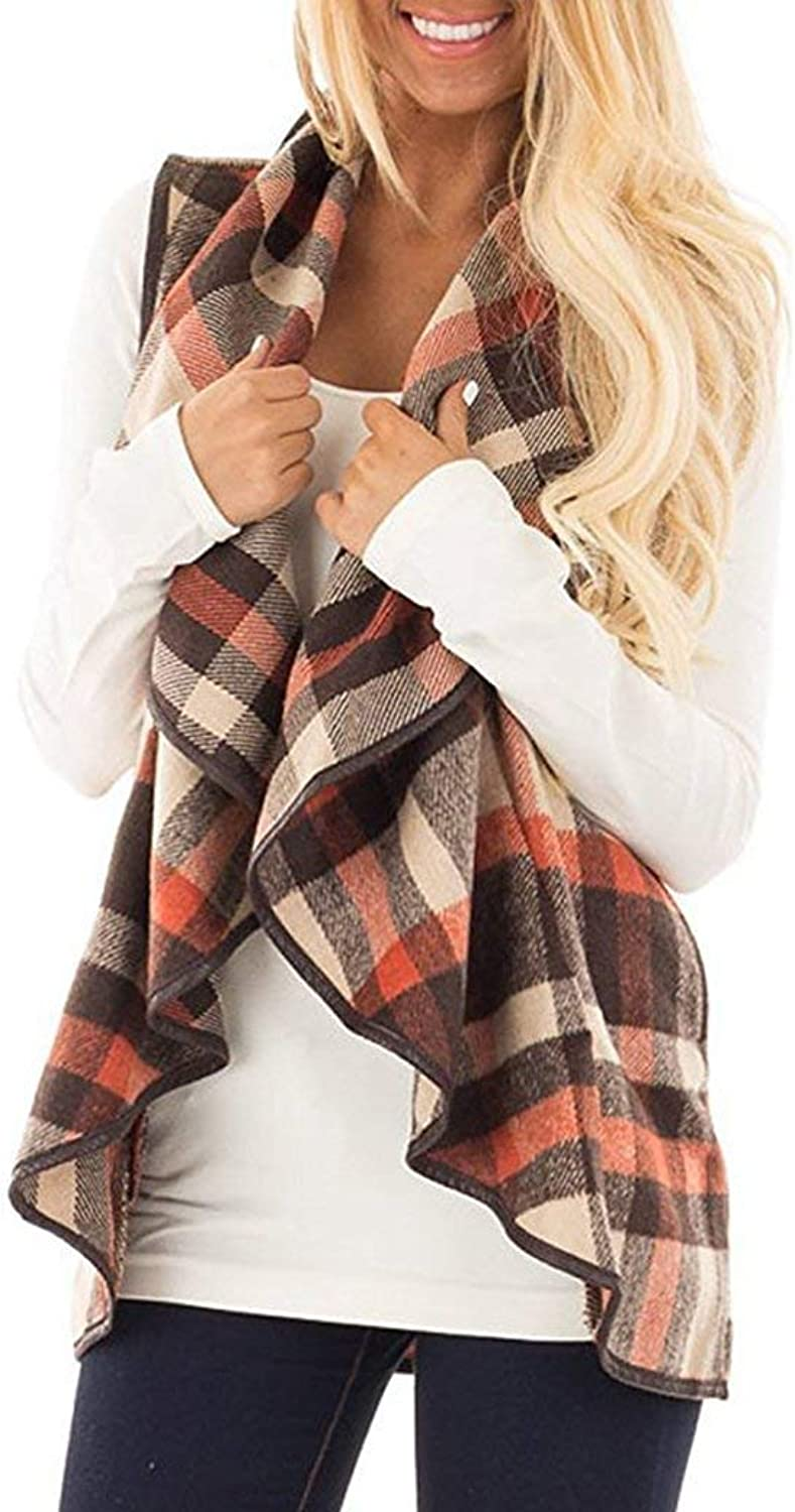 YIOIOIO Womens Plaid Vest Sleeveless Open Front Hem Cardigan Jackets