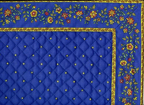 Set de table exclusif cadré bleu jaune fleur bleu
