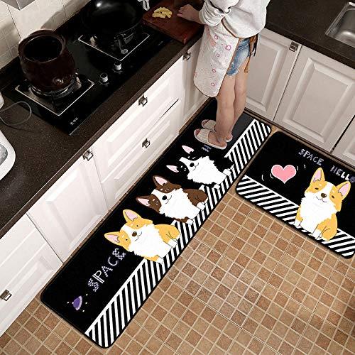 Qutdoor-QJ Tappeti da Cucina Antiscivolo Passatoia per Il corridoio e la Cucina Durevole Tappetino zerbino Lavabile in Lavatrice Strisce di Cucciolo di Cartone Nero 40x60cm