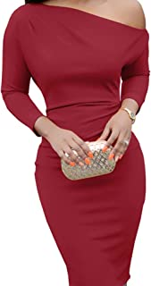 Jeanewpole1 Womens Bodycon Sexy One Off Shoulder Midi Dress Long Sleeve Stretchy Party Pencil Dress