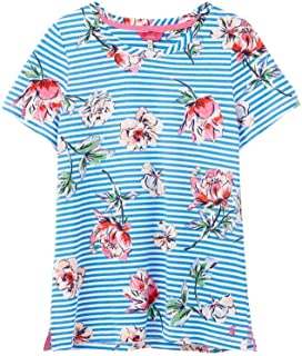 Joules Womens Carley Print Classic Crew T-Shirt - Blue Floral STRP