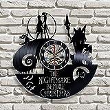 LED de colores Reloj de pared de vinilo skyline Reloj de pared LED de vinilo Pesadilla antes de Navidad Reloj de grabación temático Reloj colgante de película Reloj antiguo