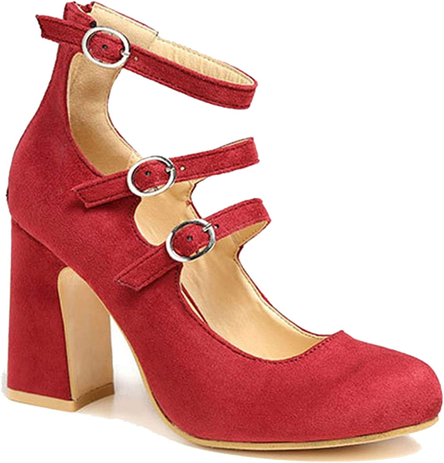 Women shoes Middle Heels Slip-On Pumps Shallow Buckle Wedding shoes shoes Femme Drop-Shipping Red,8.5