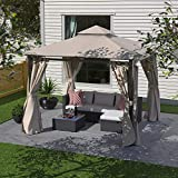 Cloud Mountain 10 x 10 Gazebo Canopy Outdoor Soft Top Gazebo Patio Gazebo Tent Polyester Double Roof Vented Gazebo with Mosquito Netting and Privacy Curtains