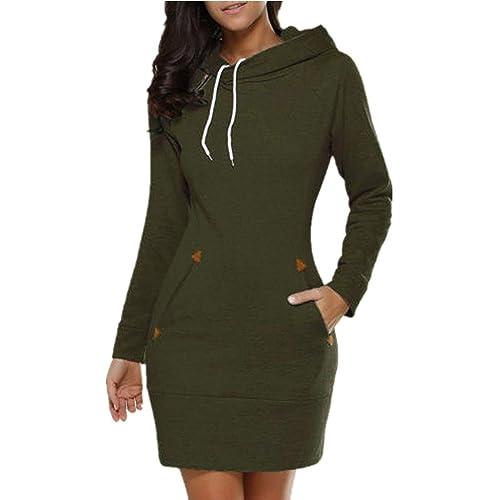 e8305692da Celmia Women Sweater Dresses Slim Long Hoodie Tunic Sweatshirt Dress Zipper  Pullover With Pockets