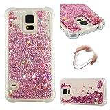 Funluna Funda Samsung Galaxy S5, Glitter Funda Lujo Líquido Moda 3D Bling Cubierta Flowing Brillar flotante Sparkle Cristal Choque Absorción Cubierta Caja para Samsung Galaxy S5 - Oro rosa