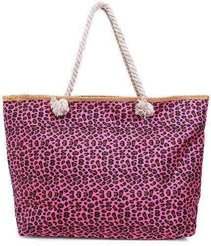 Faera Strandtasche Leoparden-Muster XXL Shopper Beach Bag mit breiter Kordel Schultertasche, Taschen Farbe:Pink