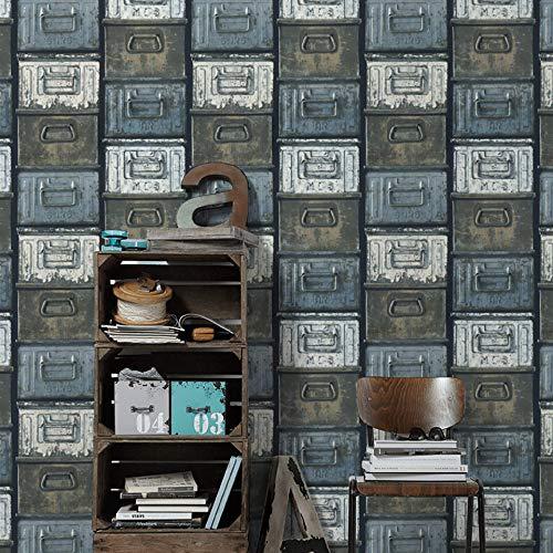 #patterned.wallpaper Loft Design Wohnzimmer Tapete Rustikale 3D Vliestapete Schlafzimmer Vintage Metallschrank Blau Tapeten Made in Germany