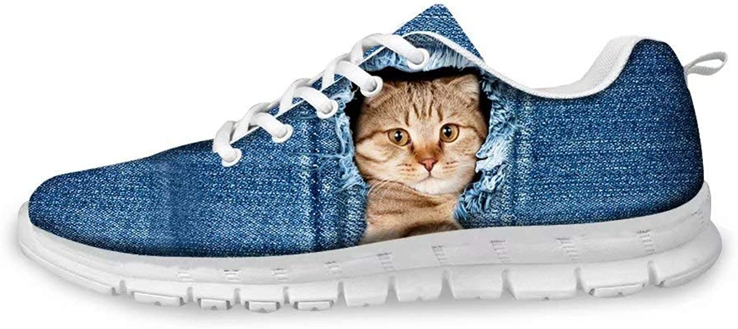Cozeyat Women's Sneakers Personalized Cute Denim Cats Print Lightweight Lace-up Running shoes